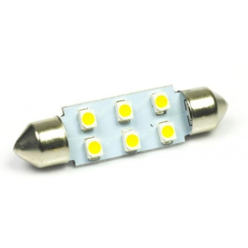 LED auto žárovka LED C5W 6 SMD 1210 42mm