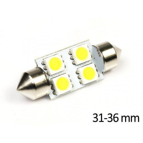LED auto žárovka LED C5W 4 SMD 5050 TEPLÁ 36mm
