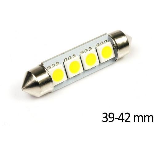 LED auto žárovka LED C5W 4 SMD 5050 TEPLÁ 39mm