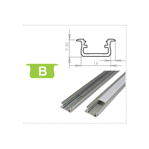 Hliníkový profil LUMINES B zápustný 2m pro LED pásky, stříbrný eloxovaný