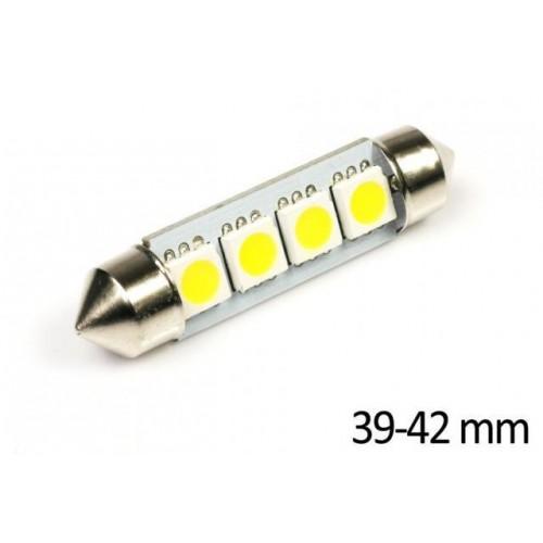 LED auto žárovka LED C5W 4 SMD 5050 TEPLÁ 42mm