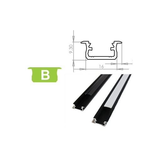 Hliníkový profil LUMINES B zápustný 2m pro LED pásky, černý
