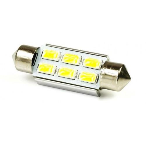 LED auto žárovka 12V LED C5W 6SMD5630 CAN BUS 36mm Teplá bílá