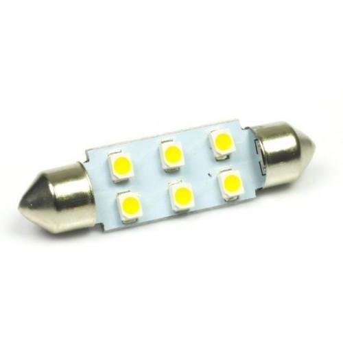 LED auto žárovka 12V LED C5W 6SMD1210 31mm TEPLÁ