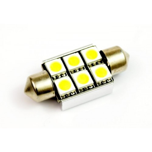 LED auto žárovka LED C5W 6 SMD 5050 CAN BUS 36mm