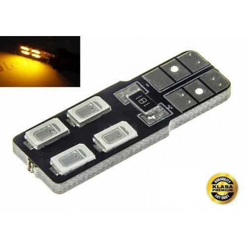 LED auto žárovka LED W5W T10 4 SMD 5630 CAN BUS ORANŽOVÁ