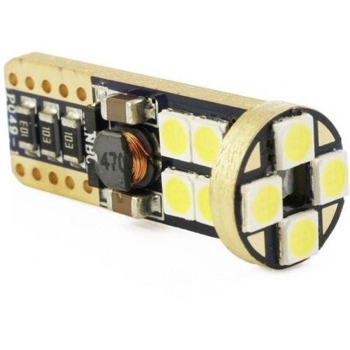 LED auto žárovka W5W T10 12 SMD CREE 3030 CAN BUS ORANŽOVÁ