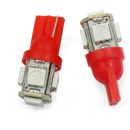 LED auto žárovka LED T10 W5W 5 SMD 5050 červená