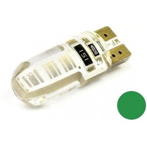 LED auto žárovka LED W5W T10 1W COB 360° Silikon ZELENÁ