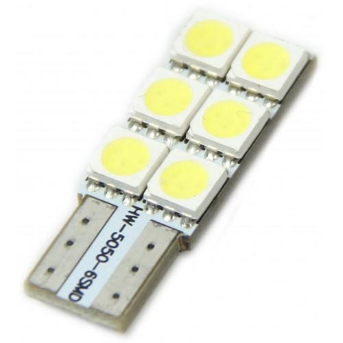 LED auto žárovka  LED W5W T10 6 SMD 5050 CAN BUS SIDE