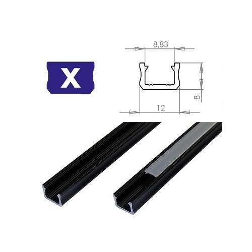 Hliníkový profil LUMINES X 2m pro LED pásky, černý
