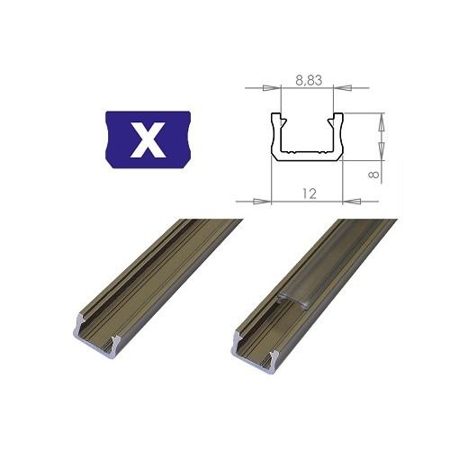 Hliníkový profil LUMINES X 2m pro LED pásky, inox