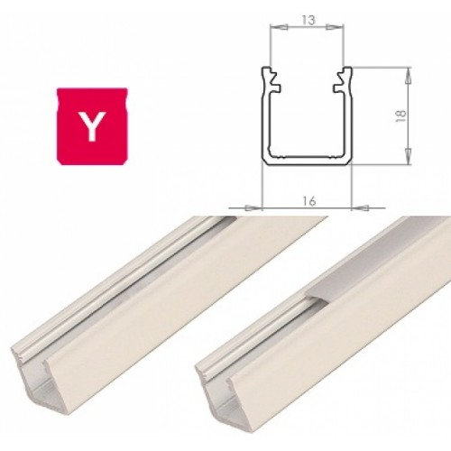 Hliníkový profil LUMINES Y 1m pro LED pásky, bílý lakovaný