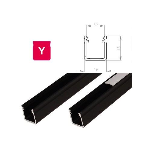 Hliníkový profil LUMINES Y 2m pro LED pásky, černý