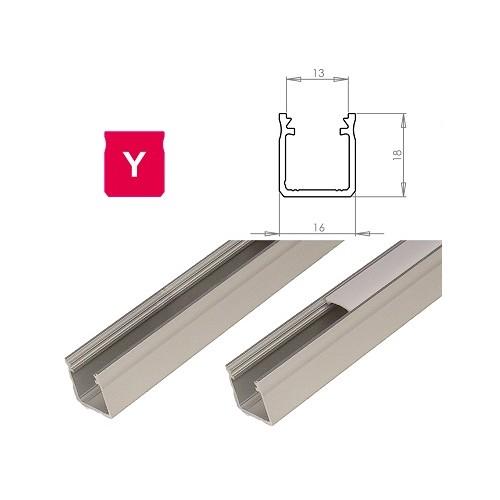 Hliníkový profil LUMINES Y 2m pro LED pásky, stříbrný eloxovaný