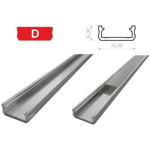 Hliníkový profil LUMINES D 2m pro LED pásky, hliník