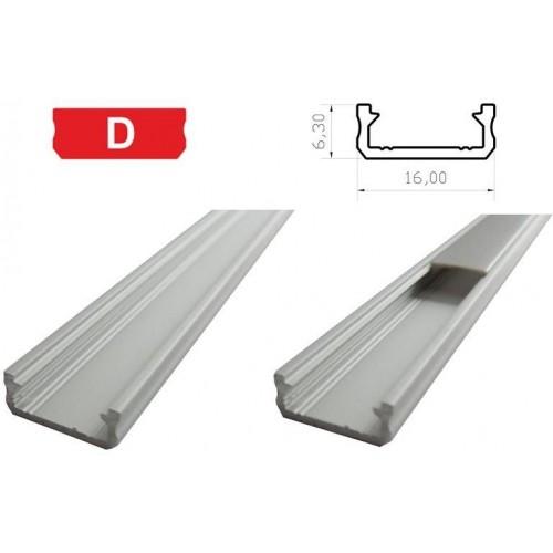 Hliníkový profil LUMINES D 2m pro LED pásky, stříbrný eloxovaný