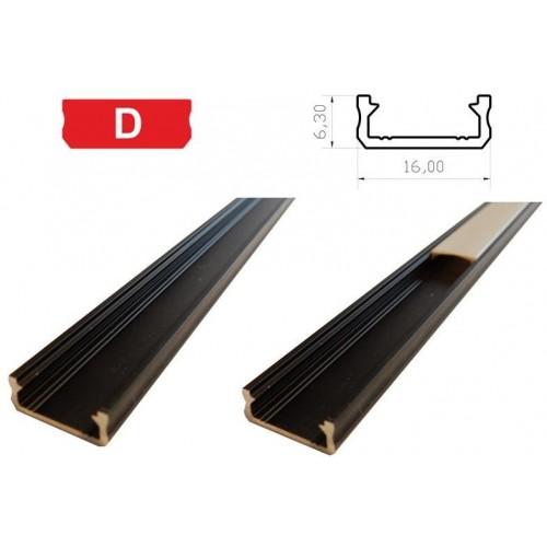 Hliníkový profil LUMINES D 1m pro LED pásky, černý