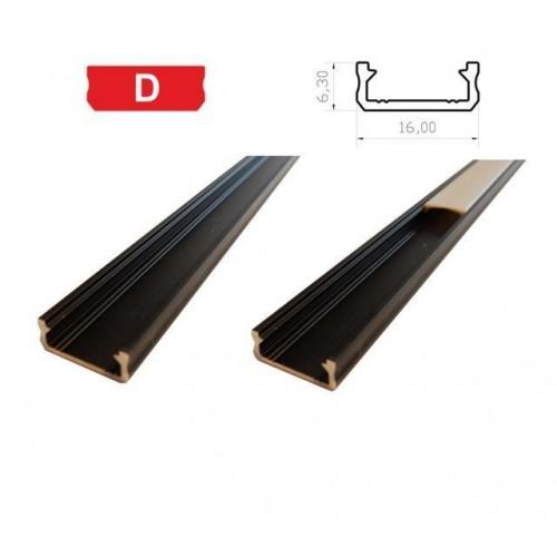 Hliníkový profil LUMINES D 3m pro LED pásky, černý
