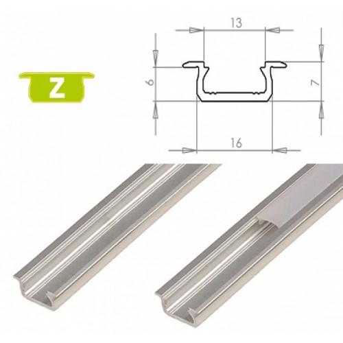 Hliníkový profil LUMINES Z zápustný 3m pro LED pásky, hliník