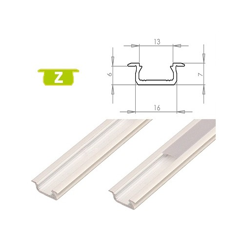 Hliníkový profil LUMINES Z zápustný 1m pro LED pásky, bílý lakovaný