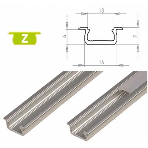 Hliníkový profil LUMINES Z zápustný 2m pro LED pásky, stříbrný