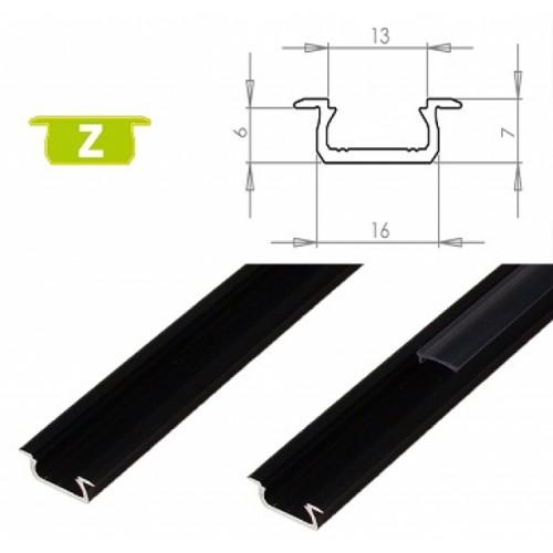 Hliníkový profil LUMINES Z zápustný 2m pro LED pásky, černý