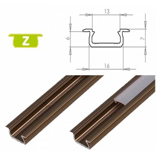 Hliníkový profil LUMINES Z zápustný 2m pro LED pásky, inox