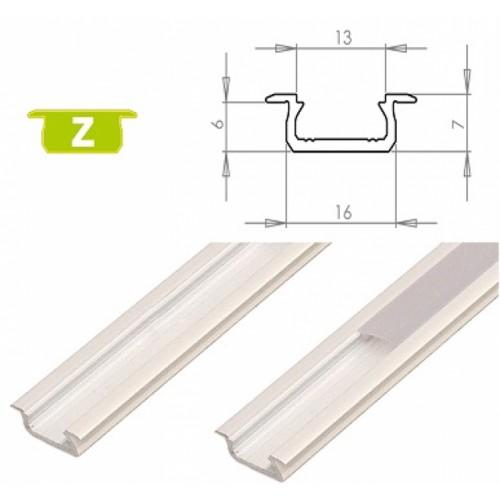 Hliníkový profil LUMINES Z zápustný 2m pro LED pásky, bílý lakovaný