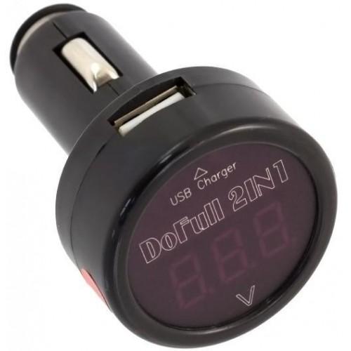 AG361A Voltmetr do auta s nabíječkou USB (5V/2,1A)