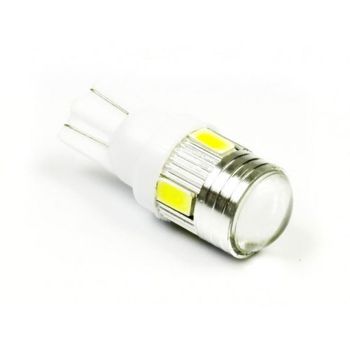 LED auto žárovka LED T10 W5W 6 SMD 5630 s čočkou, bílá