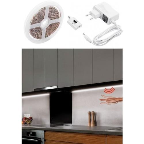 LED stmívatelný pásek s bezdotykovým ovládáním, 3m, 180 LED, voděodolný NEUTRÁLNÍ + Zdroj