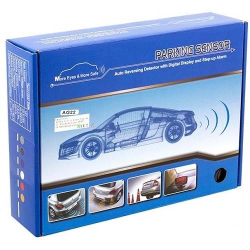 Parkovací systém 4 senzorový - zvuková signalizace i LED panel,  Ø25mm, černý
