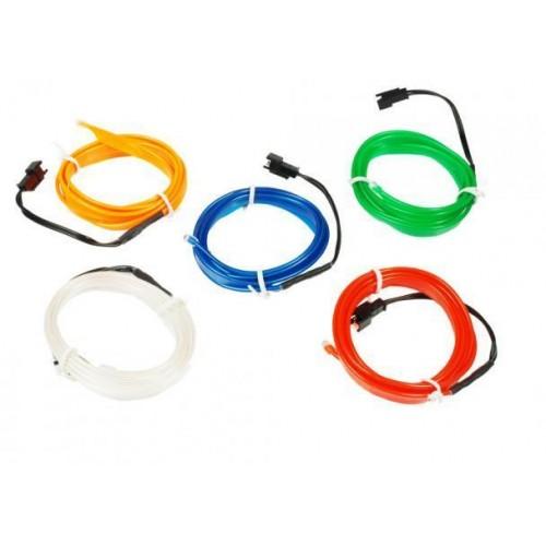 LED kabel 5m Ambient Light EL Wire s inventerem 12V, ICE BLUE