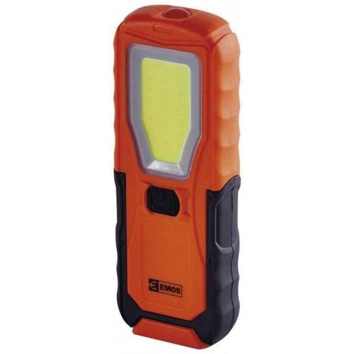 LED svítilna plastová, 5W COB LED + 1x LED, na 4x AA
