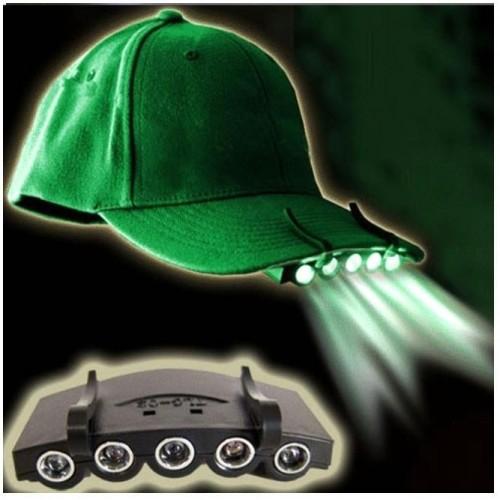 LED svítilna plastová na čepici, 5xDioda 0,5W, na 2x2032