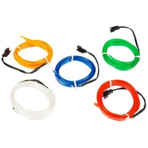 LED kabel 5m Ambient Light EL Wire s inventerem 12V, BÍLÝ