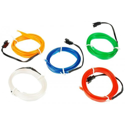 LED kabel 3m Ambient Light EL Wire s inventerem 12V, BÍLÝ