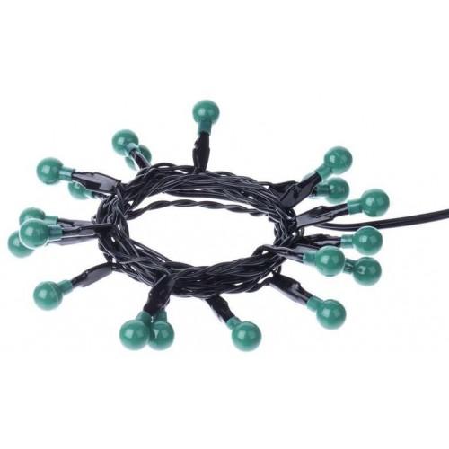 20 LED řetěz – kuličky, 2×AA 1,5m, zelená, časovač