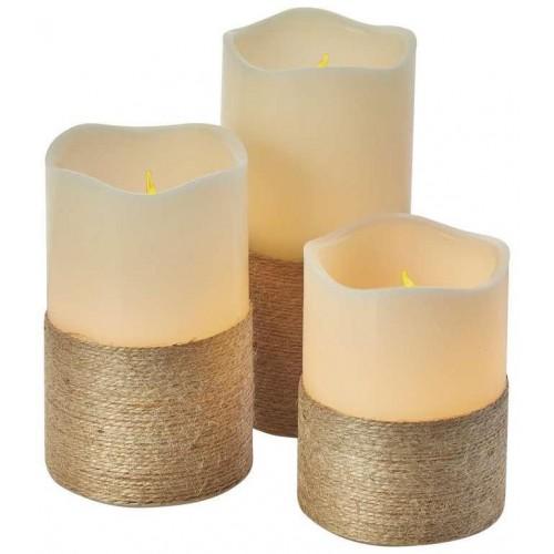 LED dekorace – svíčka s provázkem, 9×AAA, ovl., čas.
