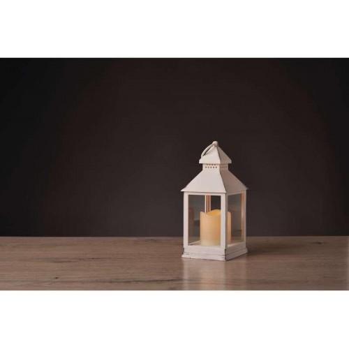 LED dekorace – lucerna antik bílá, 3×AAA, blik. svět., čas.