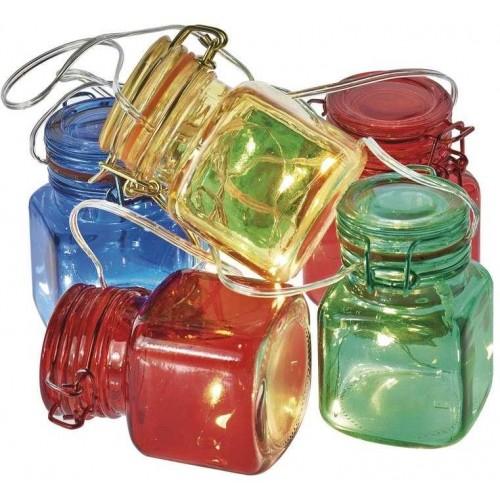 LED girlanda – 6× skleničky barevné, 3×AA, časovač