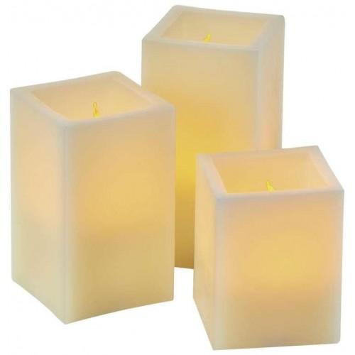 LED dekorace – svíčka, hranatá, 9×AAA, ovladač, časovač
