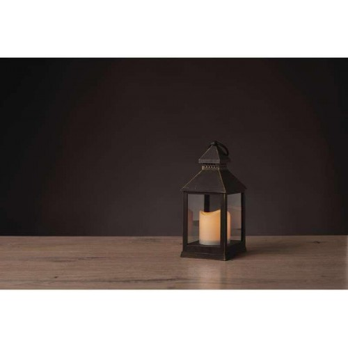 LED dekorace – lucerna antik černá, 3×AAA, blik. svět., čas.