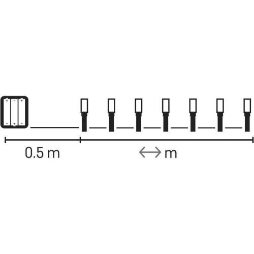120 LED řetěz, 3×AA, IP44, 8,4m, teplá bílá, časovač