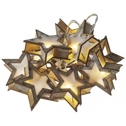 LED girlanda – hvězdy 3D, 2×AA teplá bílá, časovač