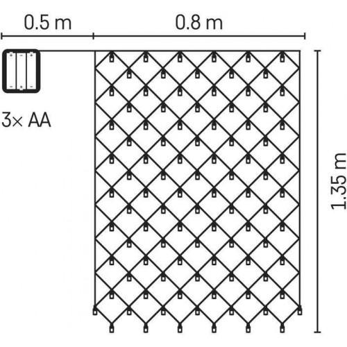 LED síť, 3×AA, IP44, teplá bílá, časovač