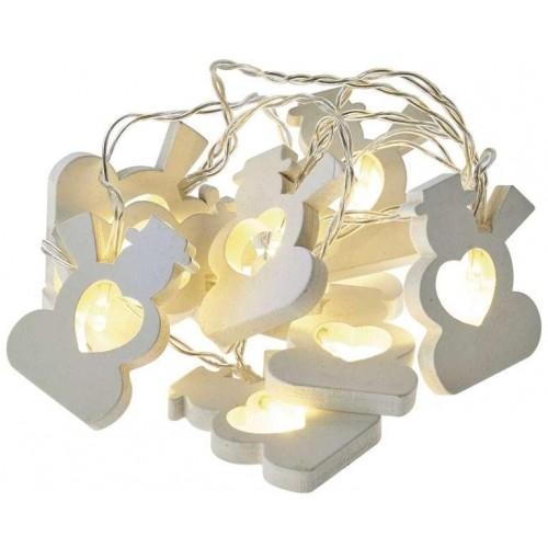 LED girlanda – sněhuláci, 2×AA, teplá bílá, časovač