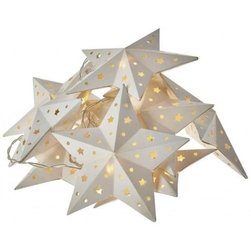 LED girlanda – hvězda, 2×AA, teplá bílá, časovač
