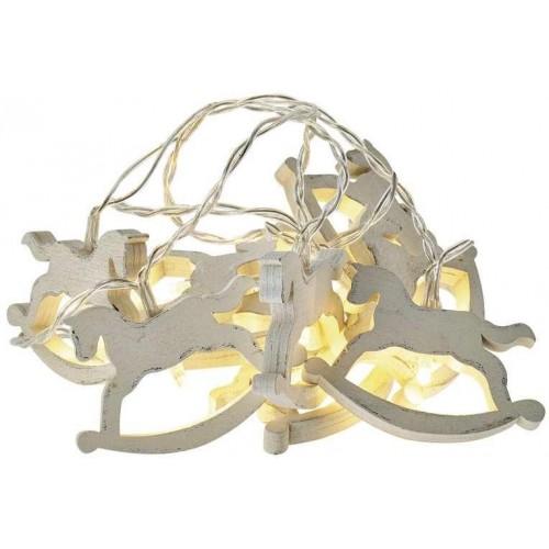 LED girlanda – koně, 2×AA, teplá bílá, časovač